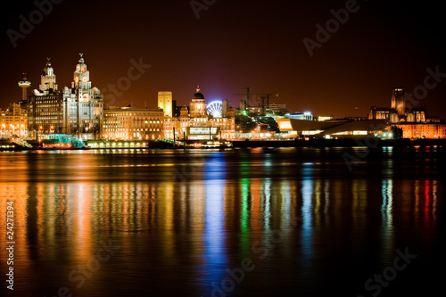 Night time Liverpool city