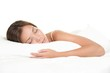 Leinwandbild Motiv Woman sleeping on white background