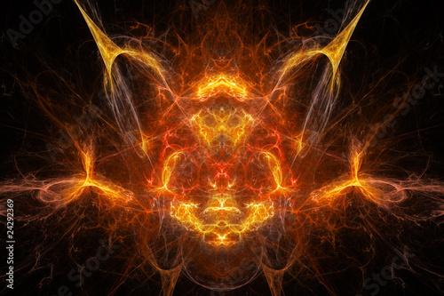 Photographie background daemon, face, fire, alien, art