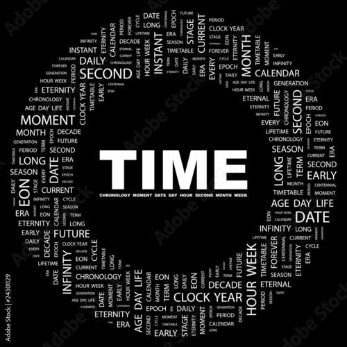 Valokuva  TIME. Circular frame with association terms.