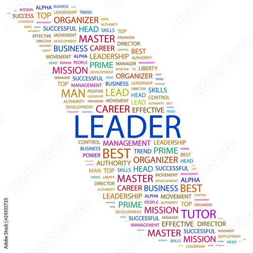 LEADER. Word collage on white background. Canvas Print