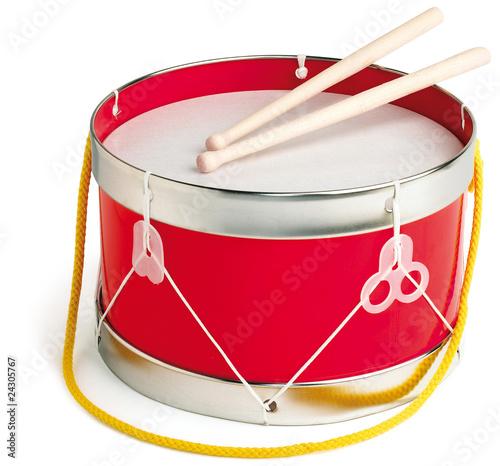 Fotografia Drum and drum sticks on white background