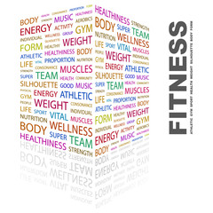 Panel Szklany Fitness / Siłownia FITNESS. Wordcloud vector illustration.