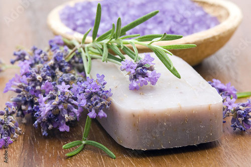 Fotografie, Obraz  bar of natural soap, herbs and bath salt