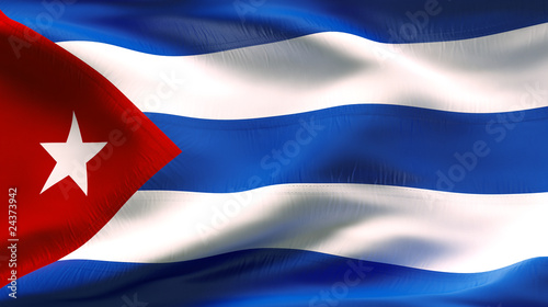 Photo  Creased CUBAN flag in wind with seams and wrinkle