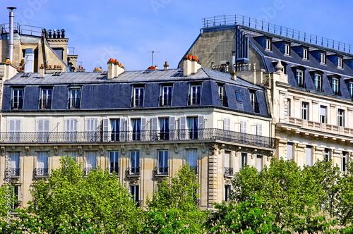 Fotografie, Obraz  Immeubles de pierre blanche aux toits gris avec arbres.