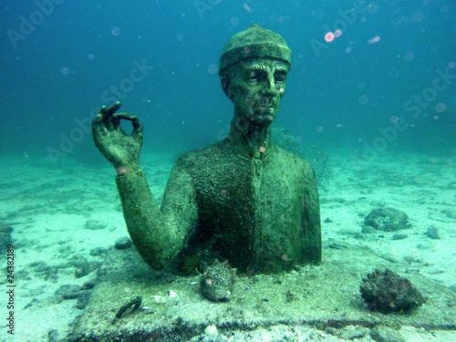 Statue du commandant Cousteau Fotobehang
