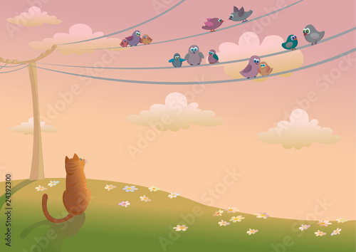 Poster Oiseaux, Abeilles Cat and birds