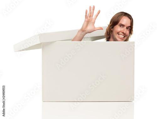 Fotografie, Tablou  Mans Head, Hand Waving Pops from Blank White Box