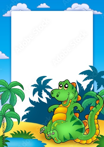 Wall Murals Dinosaurs Frame with cute sitting dinosaur