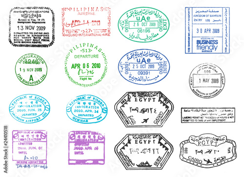 various passport stamps Wallpaper Mural