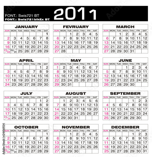 2011 Calendario.Calendario 2011 Calendar 2011 Planning Buy This Stock