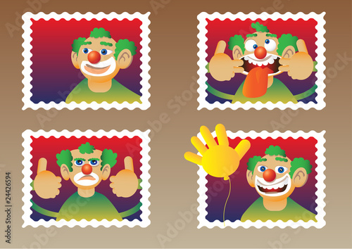 clowns on stamps Wallpaper Mural