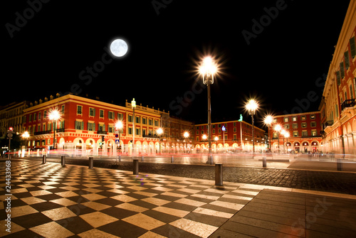 Tuinposter Volle maan The Plaza Massena Square at night in Nice