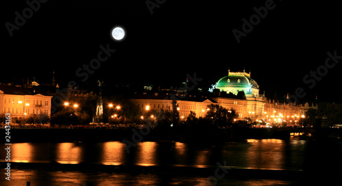 Fotobehang Volle maan The night view of the beautiful Prague City