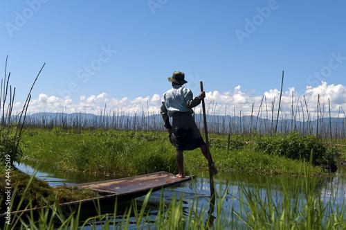 Local fishermen on the Inle lake in Burma, Myanmar. Wallpaper Mural