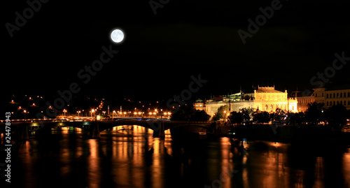 Fotobehang Volle maan The night view of the beautiful Prague City