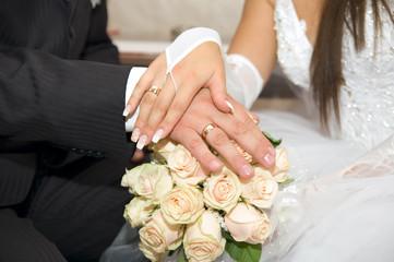 Obraz na płótnie Canvas Just Married - Holding Hands
