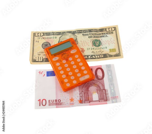 Calculator With 10 Euro And Dollar Banknotes On A White