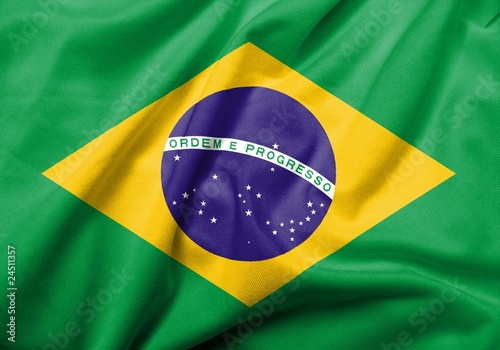 Foto  3D Flag of Brazil satin