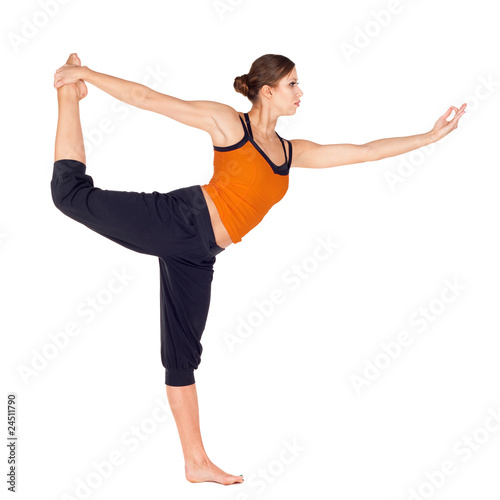 Valokuva  Woman Practicing Dancer Pose Yoga Exercise