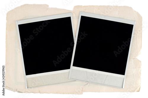 Fototapeta Blank photo frames on old cardboard background obraz na płótnie