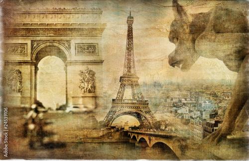 Papiers peints Retro amazing Paris - artistic retro collage