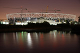 London Olympic Stadium Construction Site at Night.