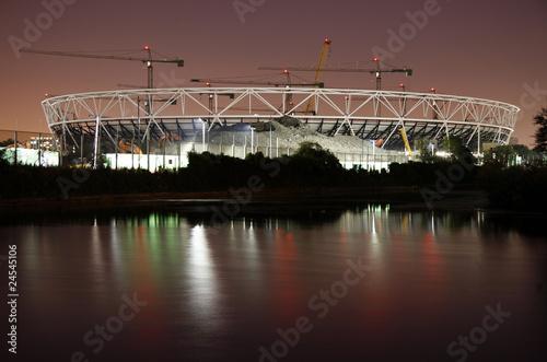 London Olympic Stadium Construction Site at Night.
