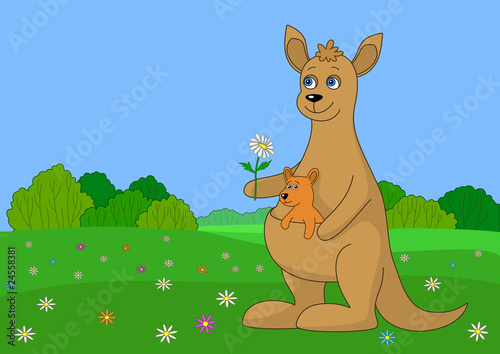 Foto op Aluminium Zoo Kangaroo with baby on a green me