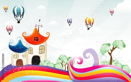 In de dag Regenboog Cartoon house