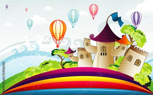 In de dag Regenboog Cartoon castle