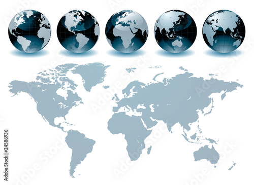 Deurstickers Wereldkaart World Globe