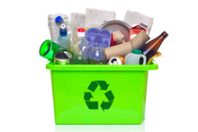Green Recycling Bin Isolated O...