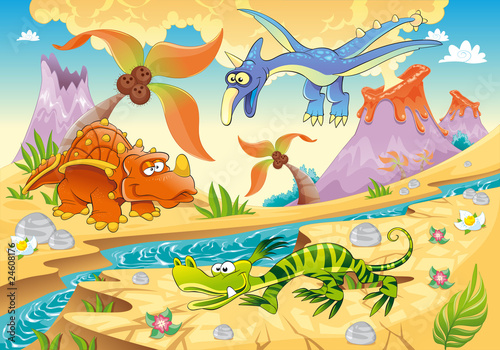Spoed Fotobehang Dinosaurs Dinosaurs with prehistoric background. Vector illustration