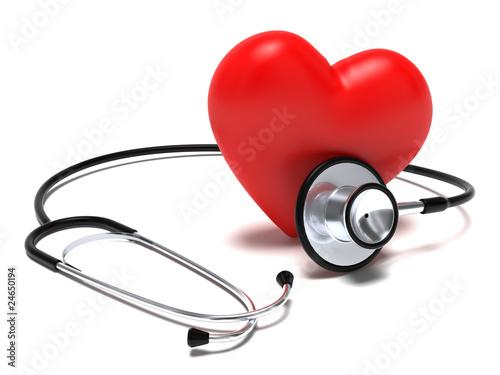 Fotografia  Stetoscopio e cuore rosso