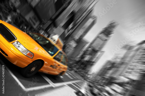 Staande foto New York TAXI New York City Taxi, Blur focus motion, Times Square