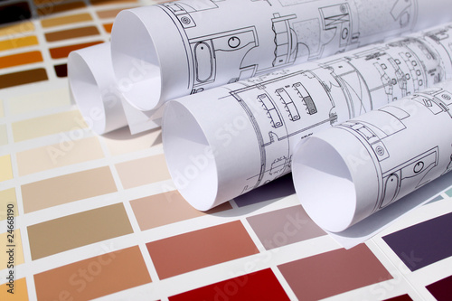Fotografie, Obraz  blueprint of home with background of paint color palette