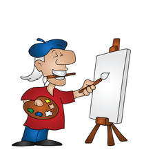 Cartoon Artist With Copy Space...