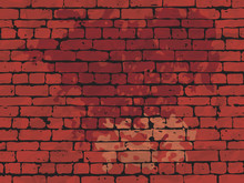 Red Brick Wall Dirty Background, AI10, CMYK.