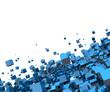 3D - Hintergrund - Fliegende Würfel Blau 02