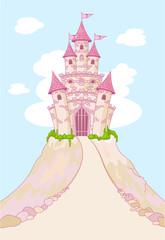 fototapeta magiczny zamek na wzgórzu