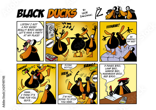 Spoed Fotobehang Comics Black Ducks Comic Strip episode 47