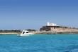 Illetes salt windmill from sea view Formentera