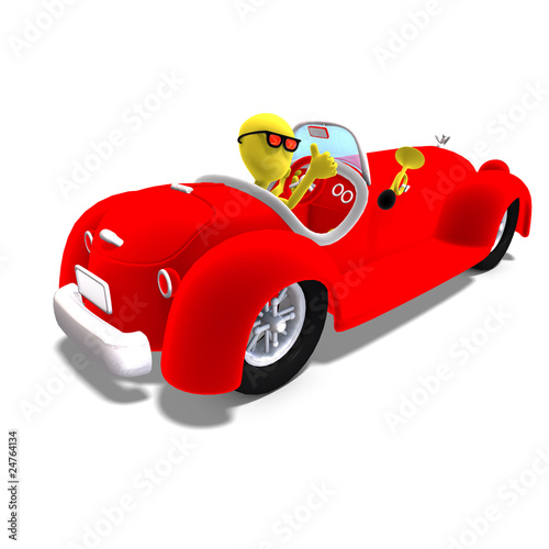 Recess Fitting Cars 3d male icon toon character driving a huge car. 3D rendering wit