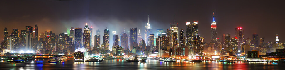 Fototapeta Miasto Nocą New York City Manhattan