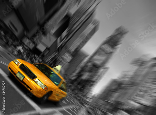 Staande foto New York New York City Taxi, Blur focus motion, Times Square