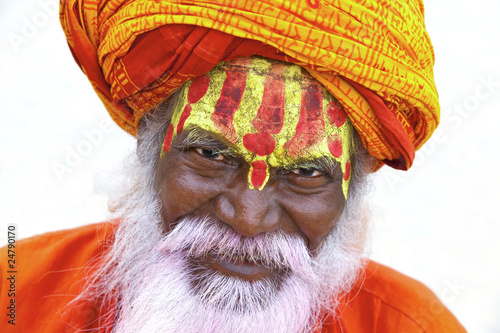 Portrait of a old Sadhu at the ghats in Varanasi, India. Canvas Print