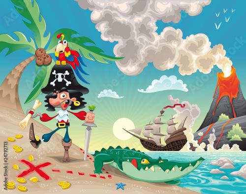 Obraz Pirat na wyspie. Śmieszna kreskówka i wektorowa scena. - fototapety do salonu