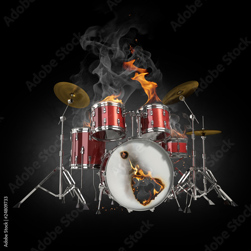 Stickers pour porte Flamme Drums in fire